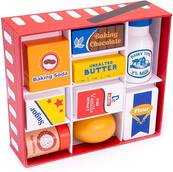 Amazon Com Baker S Mart Ingredient Set Wooden Play Food Baking Groceries Includes Baking Soda Chocolate Mil Wooden Play Food Pretend Play Food Play Food