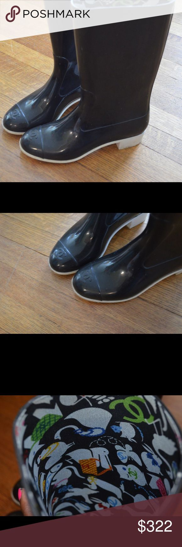 Chanel Wellington Boots Size 8 Black rubber, white bottoms THESE HAVE BEEN WORN CHANEL Shoes Winter & Rain Boots