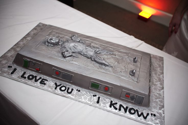 In honor of Star Wars Pride Day, I gift you this Han Solo frozen in carbonite wedding cake…