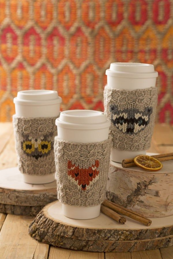 knit a woodland creature coffee cup cozy More