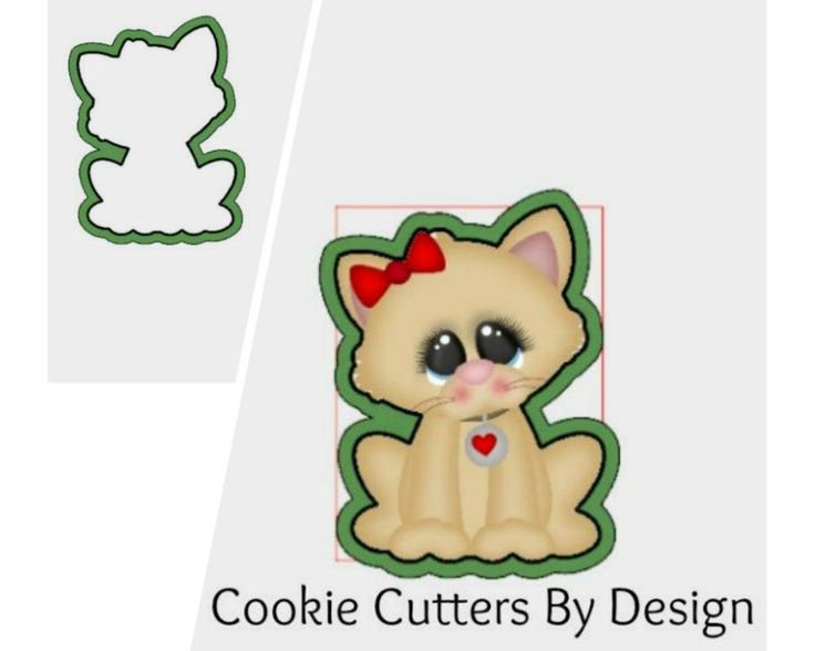 Valentine's Cookie Cutter / Cat with Bow Cookie Cutter / Kitten Cookie Cutter / Kitty Cookie Cutter / 3D Printed / Cookie Cutters by CookieCuttersByDsgn on Etsy