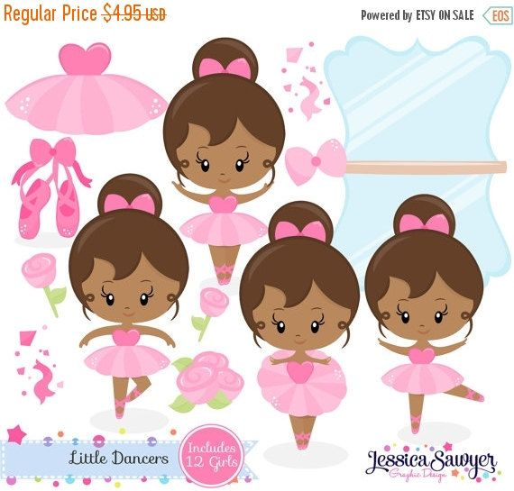 80% OFF - INSTANT DOWNLOAD, dark skin ballerina clipart and vectors for personal and commercial use