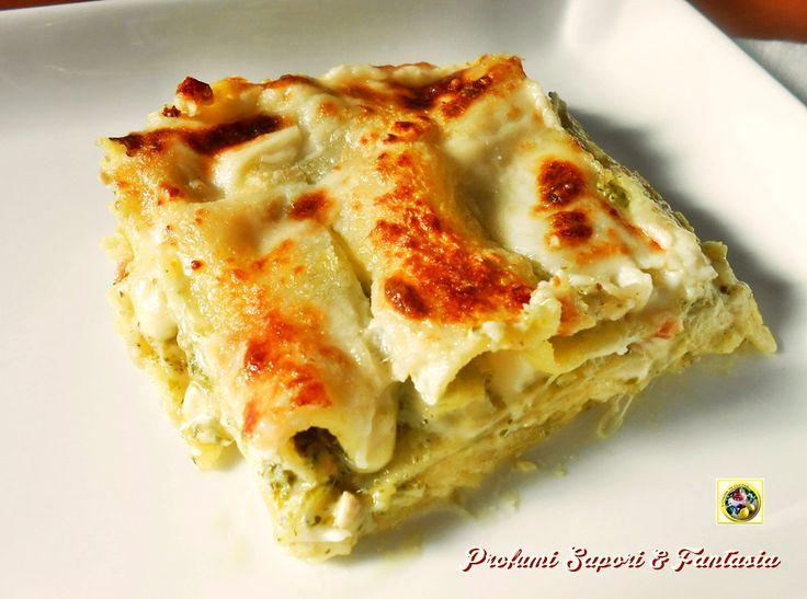 Lasagne al forno con pesto e scamorza