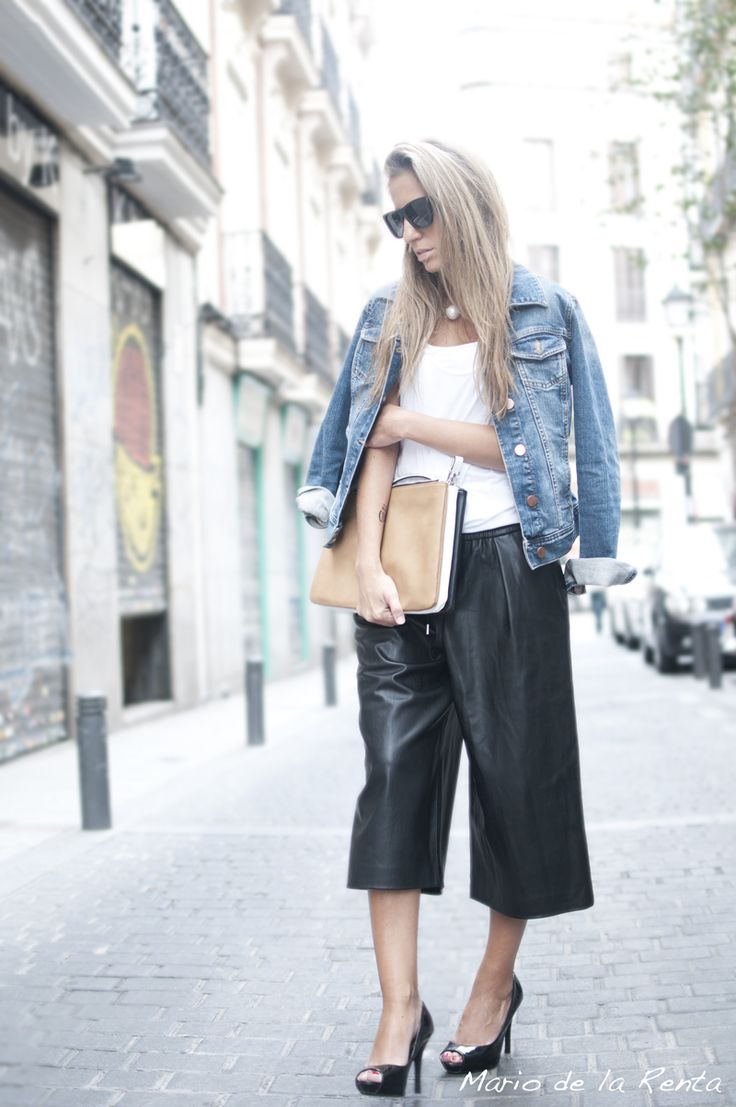 Black leather culottes http://www.mariodelarenta.com/2014/11/black-leather-culottes-for-fall.html