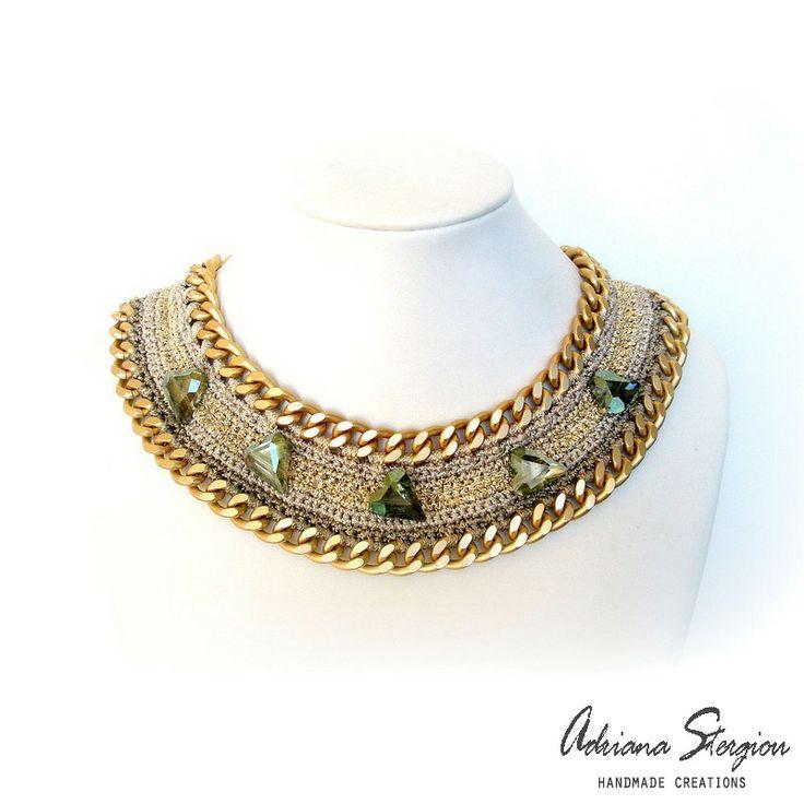 Crochet & chain necklace www.jewelmyday.gr www.jewelmyday.eu #handmade #accessories #fashion #jewelry #necklace