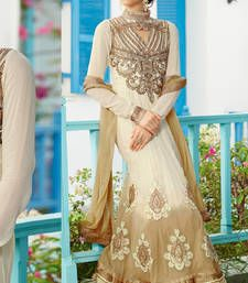 Buy Off White embroidered georgette semi stitched salwar with dupatta collar-neck-design online