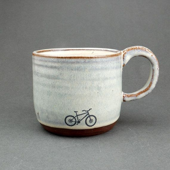 Blue Ceramic Mountain Bike Mug by JuliaSmithCeramics on Etsy