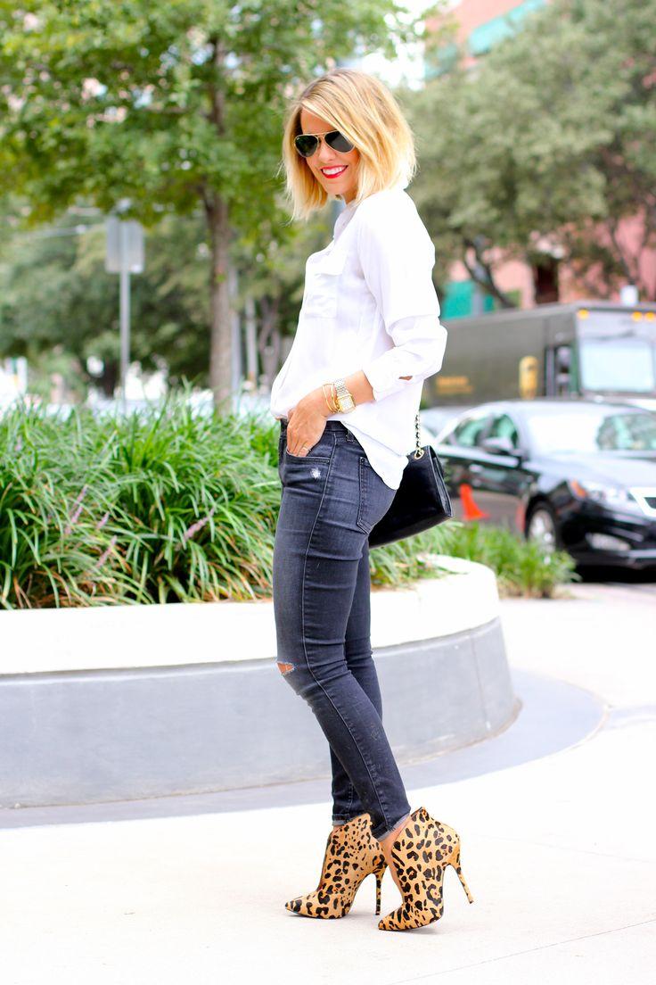 White shirt + skinnies + cheetah booties