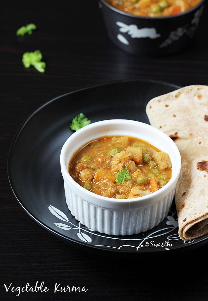 Veg kurma recipe or vegetable korma made in south Indian hotel style to pair with chapathi, puri, parotta or even with variety rice