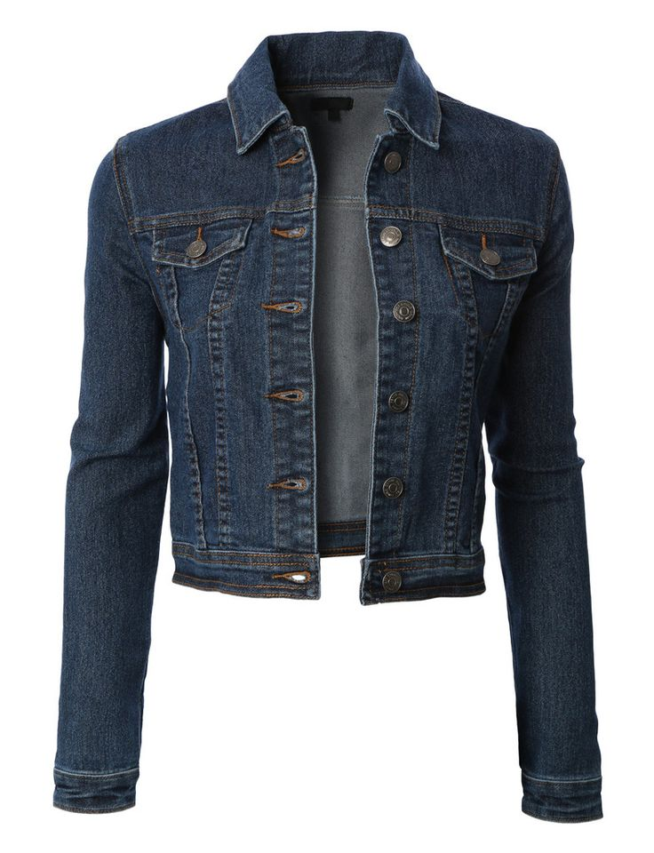 Womens Classic Cropped Long Sleeve Denim Jean Jacket with