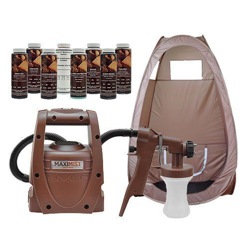 Maxi Mist Spraymate Indoor Starter System Air Brush KIT Spray Gun Tanning Tent by MaxiMist. $199.00. Pop Up Tent Included. Sealed power switch. 7 foot EzyFlex Non-fatigue air supply hose. External turbine motor air filter. 400 Watt taper fan turbine motor. Whether you are a seasoned professional, pursuing a new side business, or just want to bring your tanning costs under control, we have the sunless tanning spray kit that will allow you to get started right away. Oh and ...