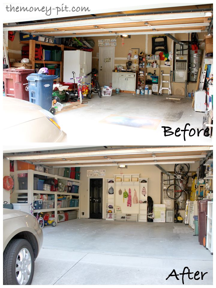 Garage makeover.. added a 'mudroom' made out of ikea shelves that look like built ins.