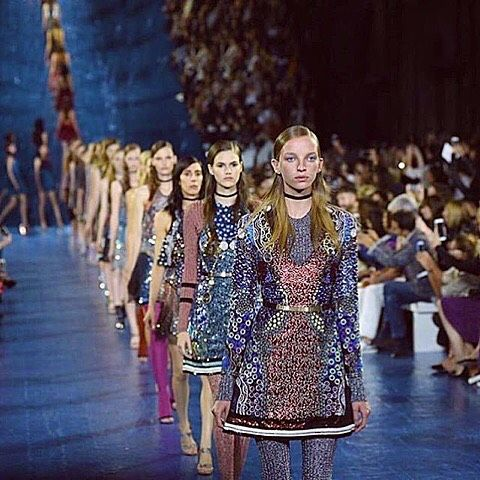 A parade of print, embellishment and gem studded detail. #marykatrantzou #SS16 #LFW #regram istyle_consultancy (at London Fashion Week)