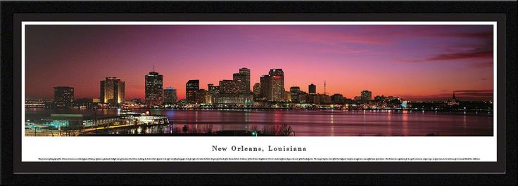 New Orleans Skyline Panoramic Picture Framed, Louisiana
