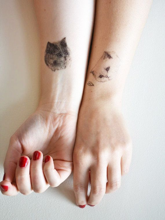 cat temporary tattoo  ONE  single fake cat tatt  by helloharriet