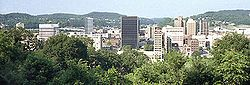 —  State Capital  —  Downtown Charleston, West Virginia Charleston is the capital and largest city of the U.S. state of West Virginia. It is located at the confluence of the Elk and Kanawha Rivers in Kanawha County
