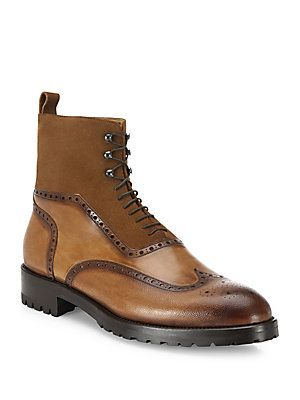 Parker Wingtip Leather amp Suede Boots Products Pinterest