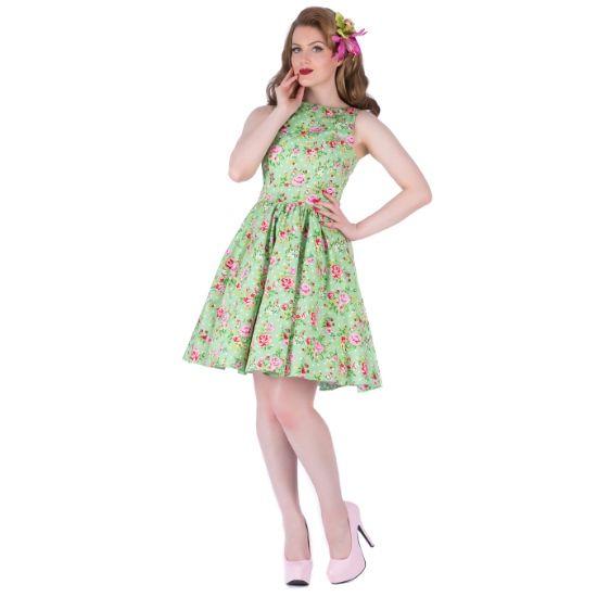 Lady V London Apple Green Floral Tea Retro šaty ve stylu 50. let. Nádherný romantický model pro slunečné letní dny - na zahradní oslavy, svatby, večírky pod širým nebem. Úžasná podkladová barva zeleného jablka s barevnými květy. Příjemný pružný materiál (97% bavlna, 3% elastan), pohodlný střih s lodičkových výstřihem, vzadu lehce vykrojené se zapínáním na zip a vázačkou zajistí skvělé přilnutí k vaší postavě.