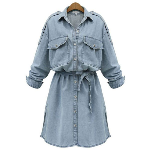 Flap Pocket Plain Denim Shirt Dress (€42) ❤ liked on Polyvore featuring dresses, long denim dress, long-sleeve denim dresses, tie shirt dress, blue dress and sleeved dresses
