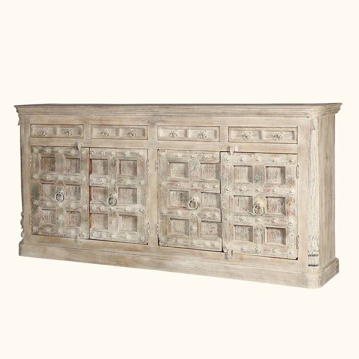 """Like the work of the great Italian artists, the Palazzo 93"""" 4-drawer rustic buffet sideboard is truly a marvel to behold. 100% handmade, this beautiful piece is constructed from solid reclaimed Mango wood and features graceful lines and a gorgeous craftsmanship which will surely stand the test of time."""
