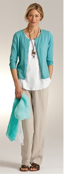 Love this look... cardi, white shirt and linen pants!