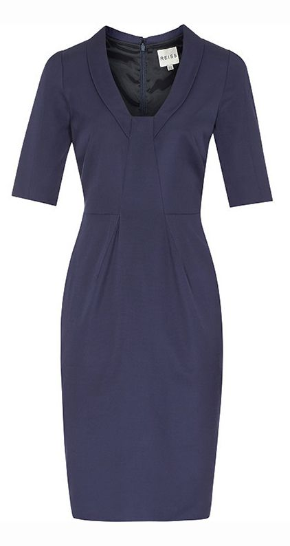 Tatiana's Delights: House of Claire - How to replicate House of Cards Claire Underwood simple elegant fashion. Where to buy her stylish minimalist sheath dress and oxford shirt? Robin Wright is a great style icon for professional women in need of inspiration for a fashionable office outfit! - Reiss Angel dress in Indigo