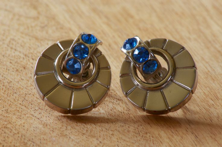 Vintage Silver Tone Screw Back Earrings with Blue Rhinestones by flatlandfinery on Etsy