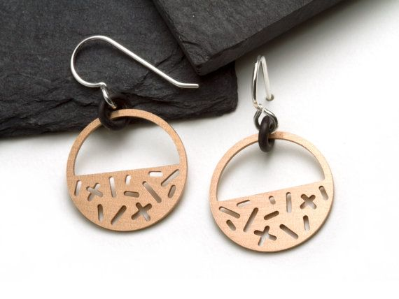 Geometric, graphich, dangling earrings by Camillette Jewelry