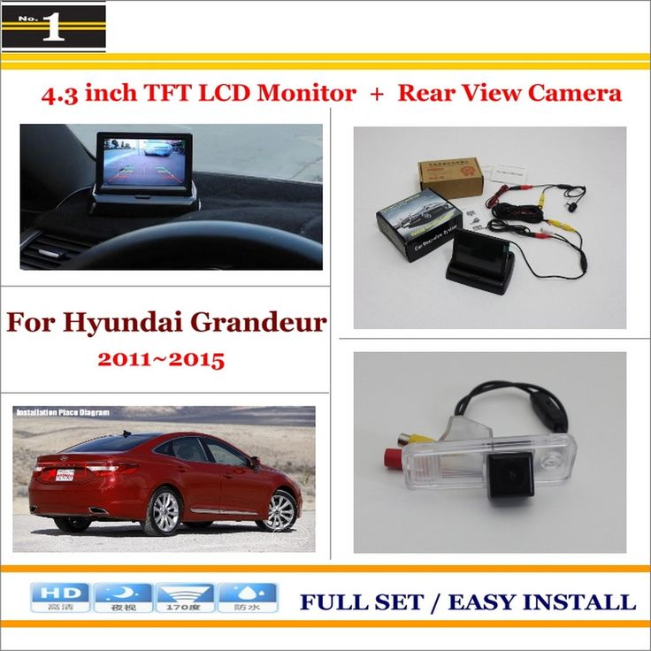"4.3"" TFT LCD Monitor + Car Rearview Back Up Camera = 2 in 1 Car Parking System - For Hyundai Grandeur 2011~2015"
