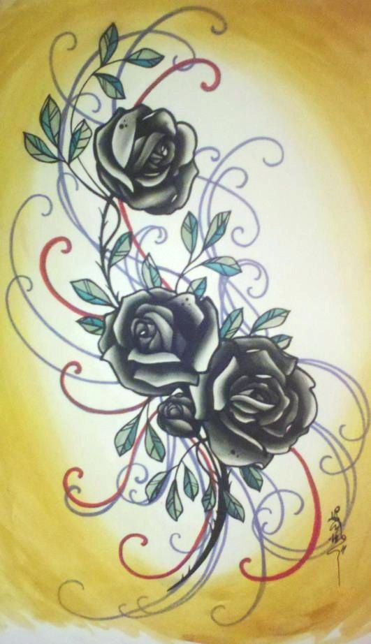 rose tattoo art black roses evil valentine large by resonanteyes, $75.00