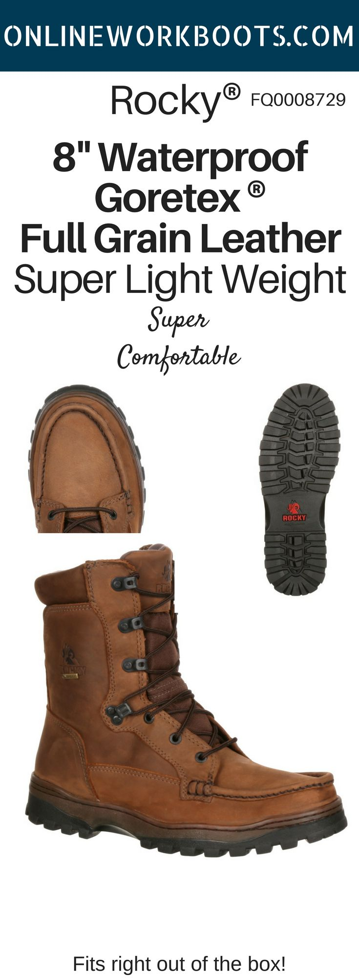Soft Full-grain leather Airport Footbed Provides Support and Cushioning Outback outsole provides stability on rugged terrains Waterproof and breathable GORE-TEX® construction 8 Inches in height. Try a pair today! #onlineworkboots #rockyboots #onlineshopping