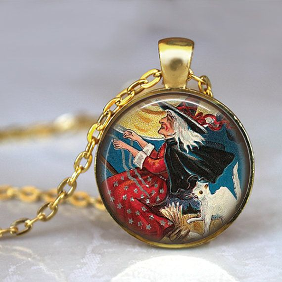 WICKED WITCH Necklace Pendant Vintage Gold by LiteraryArtPrints