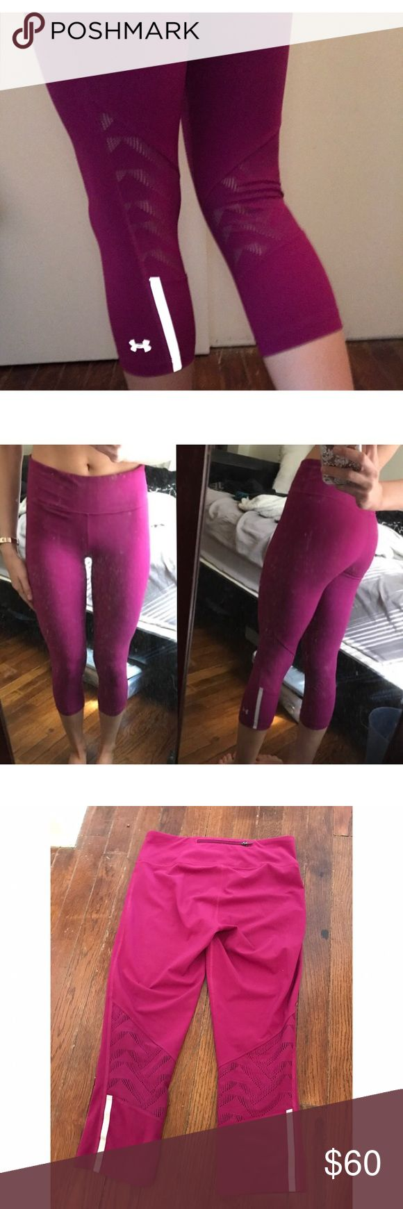 SALE⭐️Under armour compression maroon mesh crops! Size small-only worn once, too baggy for me around the waist so I can't workout in them! They are adorable and light weight :) the mesh on the back is such a cute detail Under Armour Pants Leggings