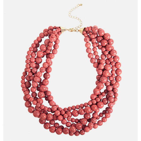 Avenue Layered Bead Necklace (640 RUB) ❤ liked on Polyvore featuring jewelry, necklaces, coral, plus size, multi color necklace, coral necklaces, beads jewellery, multi colored bead necklace and multi layer necklace