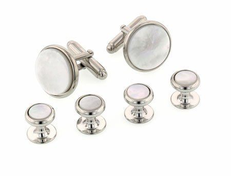 JJ Weston Classical elegance. Silver plated set of cufflinks and shirt studs set with mother of pearl with presentation box. Made in the U.S.A JJ Weston. Save 17 Off!. $75.00. Gift boxed. Made in the U.S.A. A superb accent for a formal occasion. Excellent styling