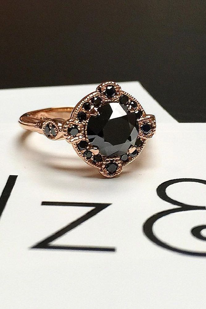 21 Unique Black Diamond Engagement Rings ❤️ black diamond engagement rings rose gold vintage round ❤️ More on the blog: https://ohsoperfectproposal.com/black-diamond-engagement-rings/ #UniqueEngagementRings