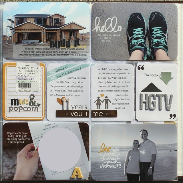 Ideas for Project Life:  1. the movie ticket stub stapled to the a card and letter stickers for title  2. The story goes across two cards in the middle.  3. Black and White photo with text in white and one word in a bright color