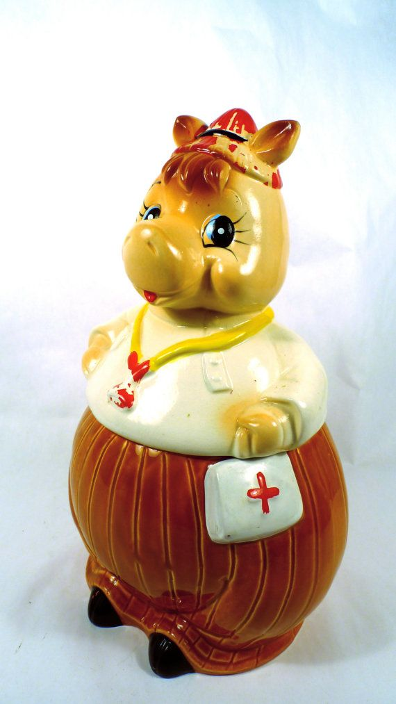 Cute Vintage Cookie Jar  Nurse or Doctor  by savedfromthewreckage, $34.00