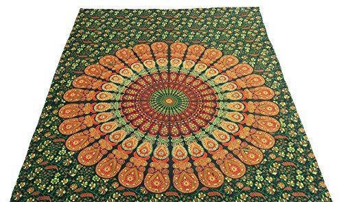 Handicrunch Hippie -Mandala -Tapisserie, Hippie Wandteppiche , Wandteppiche , Tapisserie Wandbehang , Indian Tapisserie, Bohemian Bettwäsche Psychedelisch Wandbehang Größe 60 x 85 Zoll ist