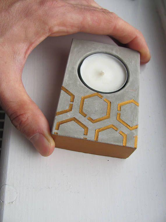 Geometric Modern Design Candles and Holders Concrete Tea