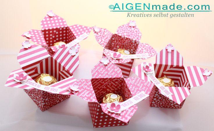 Gastgeschenke Goodies für Stampin'UP! Bastelparty - Rosenrote kleine Boxen Ferrero Rocher 3