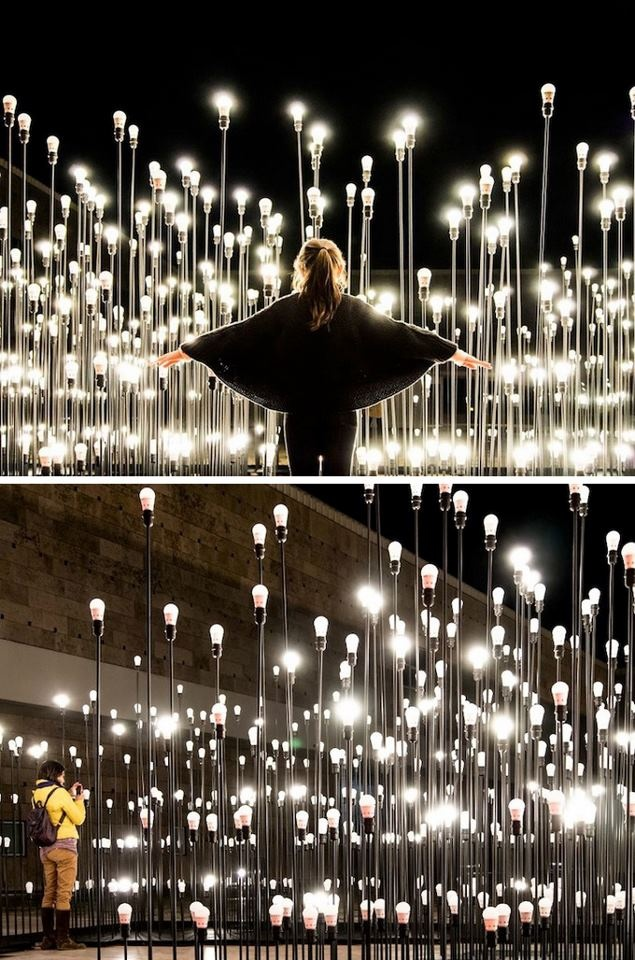 IKEA Lamp Installation    The duo of architects LikeArchitects has made this superb facility in Lisbon for the Ikea brand. Using 1200 lamps Ledare Ikea, this very successful result both aesthetic and creative is to be found in the following images.
