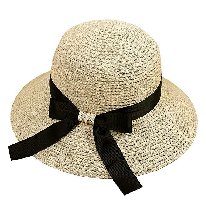 5ab0dbbe75d Women s Big Brim Sun Hat Floppy Foldable Bowknot Straw Hat Summer Beach Hat  UPF 50 Review