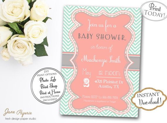 INSTANT DOWNLOAD  Coral and Mint Baby Shower by JanePaperie