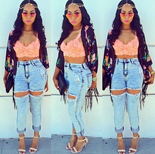 Streetwear Swag Dope Pretty Girl Coral Lace Bralet Ripped Denim Jeans Sandal Heels Urban Fashion Sexy. Pinterest: ♚ @RoyaltyCalme †