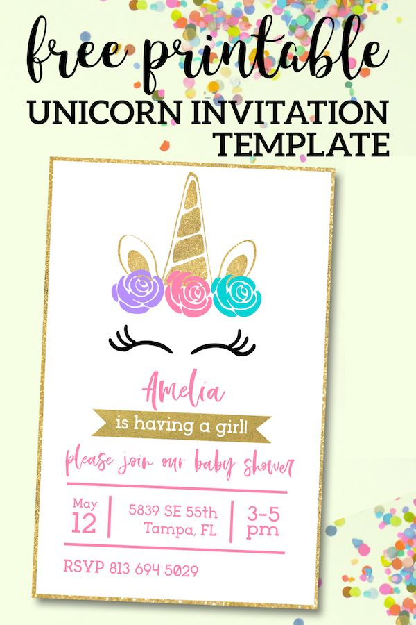 Free Printable Golden Unicorn Birthday Invitation Template Free Invitation Template Unicorn Invitations Diy Printable Unicorn Invitations Unicorn Invitations