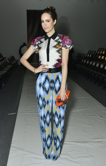 Louise Roe styled a contrast-collar blouse with ikat-print trousers for a perfectly mix-matched ensemble at Bibhu Mohapatra