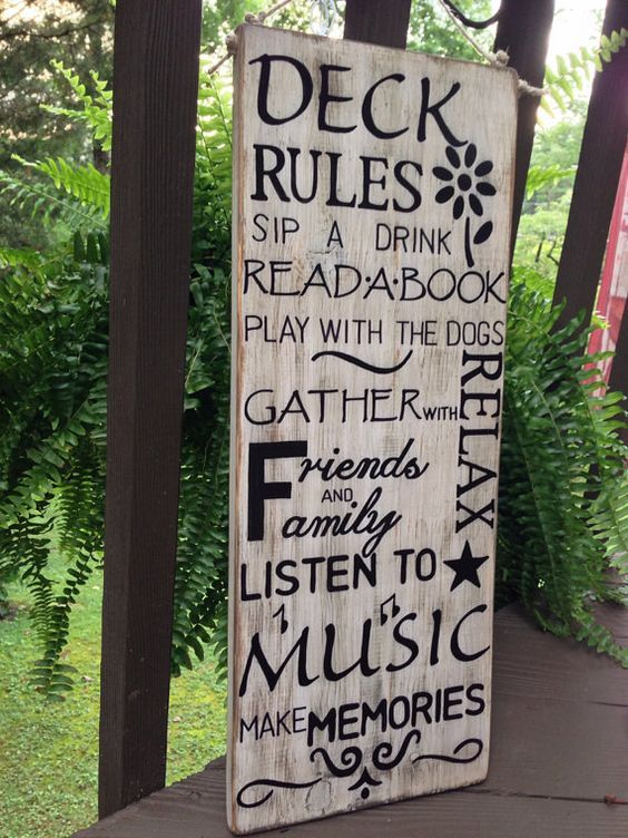 Large Deck Rules Sign. Hand painted and outdoor sealed. Many colors available. on Etsy, $45.00: