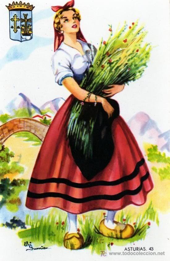 Post Card  #traditional dress Asturias #Spain
