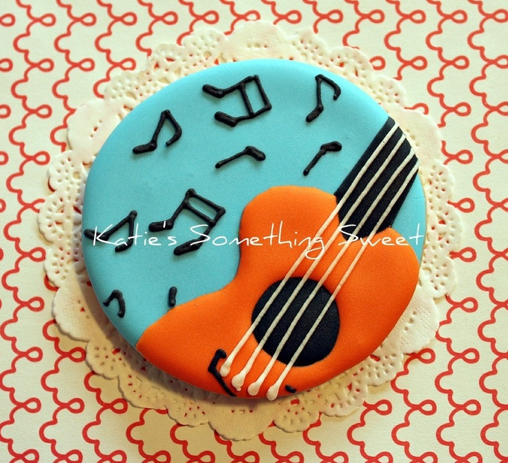 Music Cookies-Guitar Cookies-Music Note Cookies. $51.00, via Etsy.